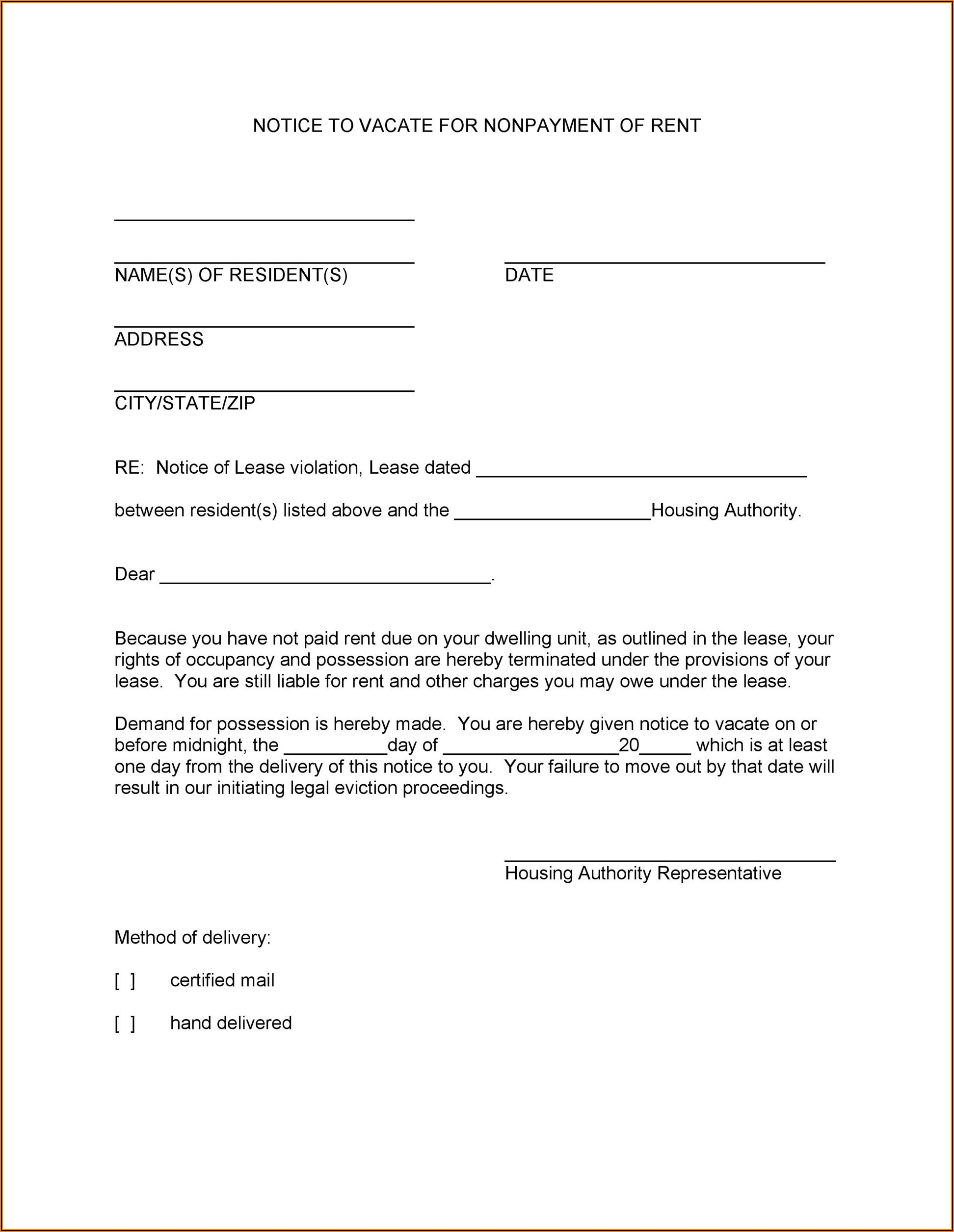 Texas Notice To Vacate Form Pdf
