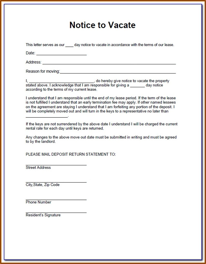 Texas Notice To Vacate Property Form