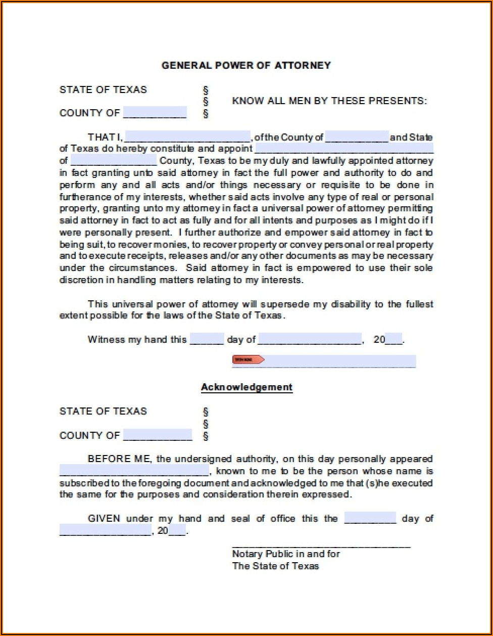 Texas Revocation Of Power Of Attorney Form