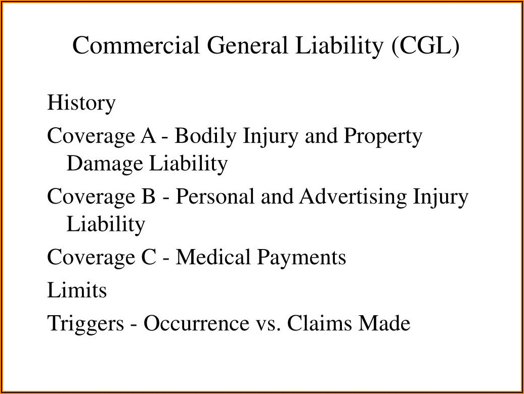 The Commercial General Liability Coverage Form Excludes Bodily Injury