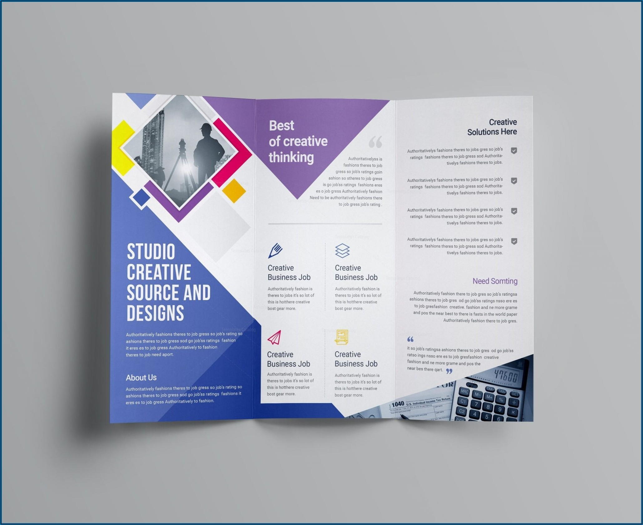Tri Fold Brochure With Tear Off Template