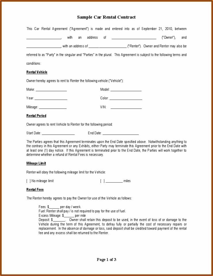 Truck Rental Agreement Form Pdf