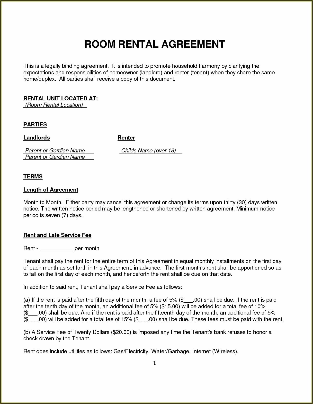 Uk Rental Agreement Template