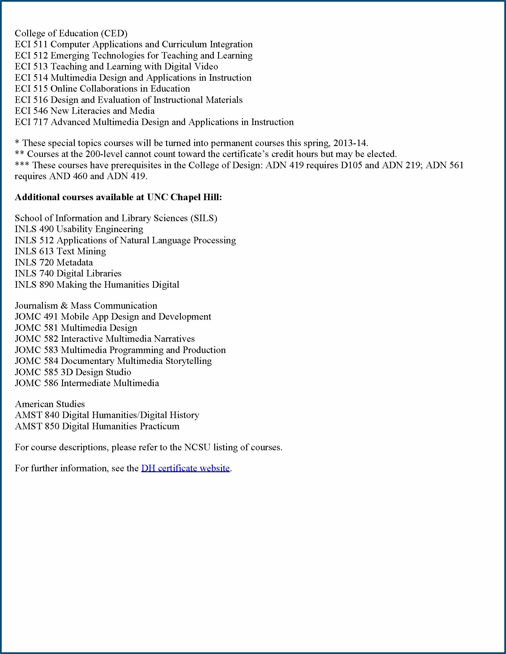 Unc Chapel Hill Graduate Catalog