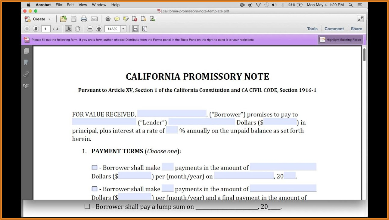 Unsecured Promissory Note Template Washington State