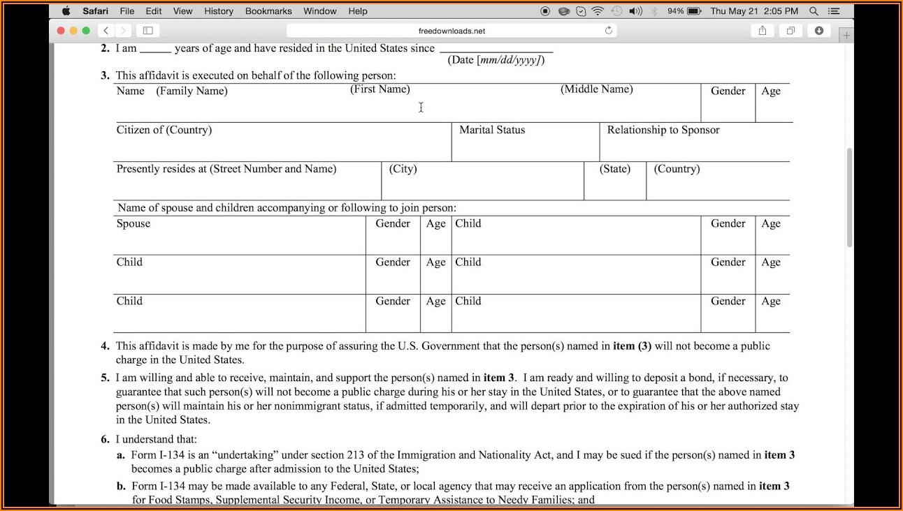 Uscis.gov Forms I 134