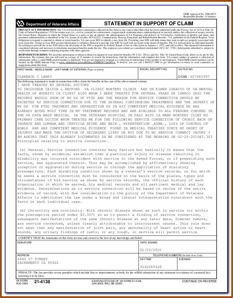 Va Disability Claim Forms