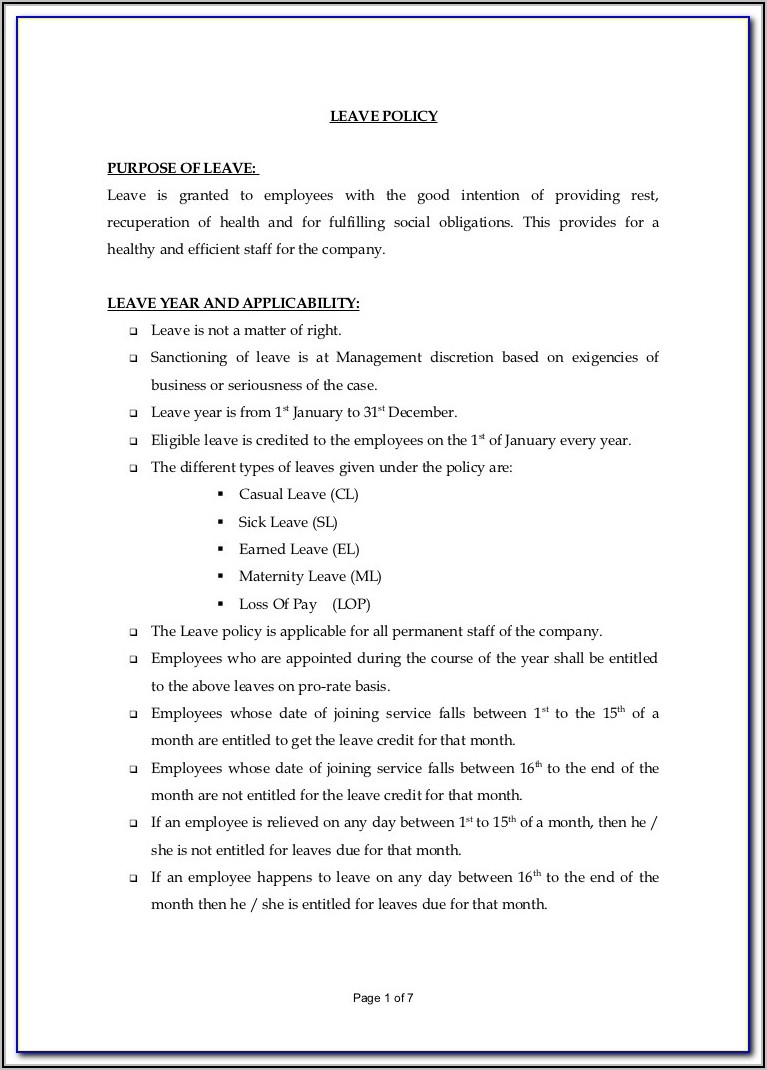 Vacation And Sick Leave Policy Template