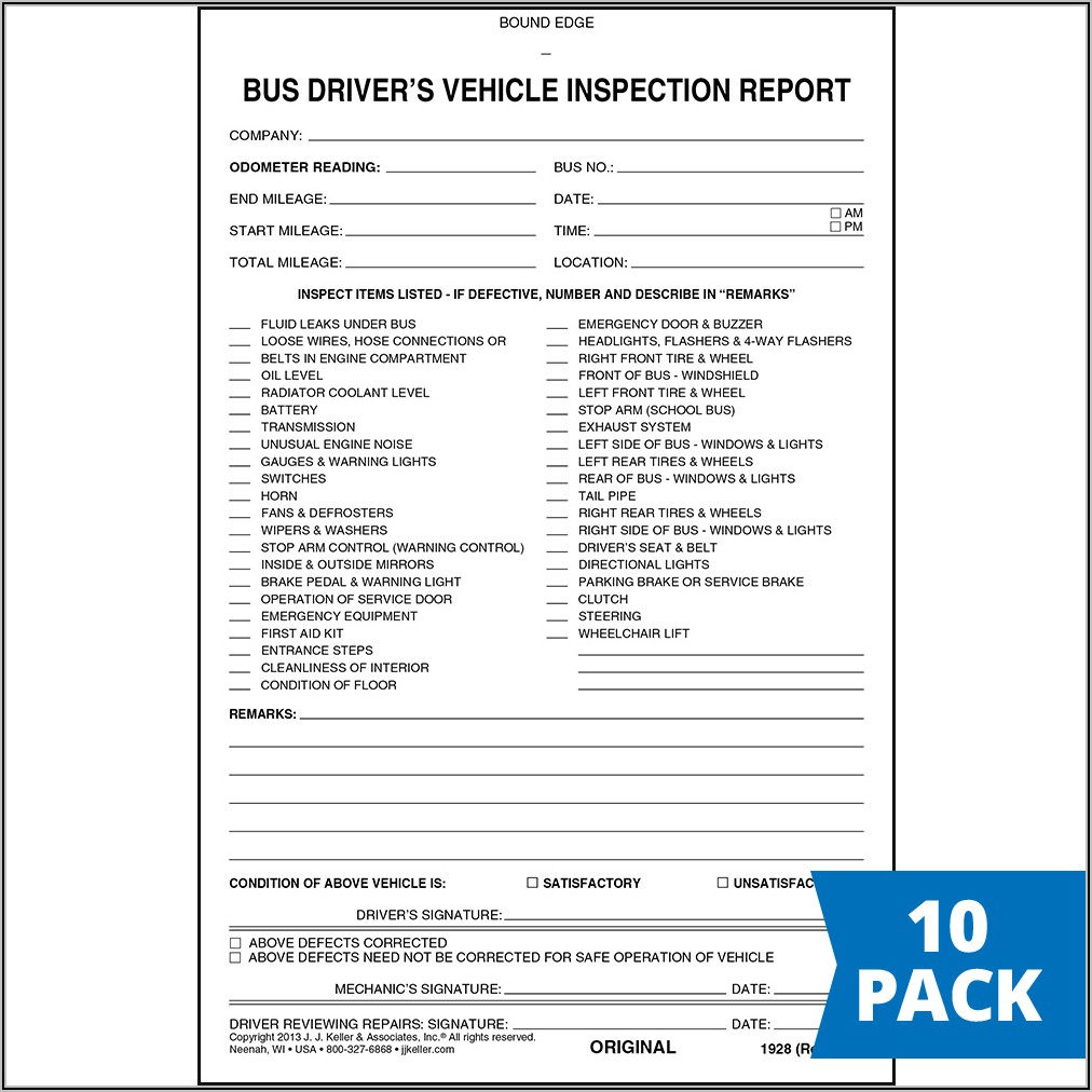 Vehicle Inspection Report Format