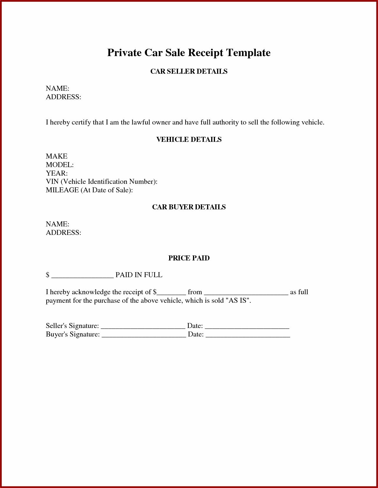 Vehicle Sale Receipt Template Qld