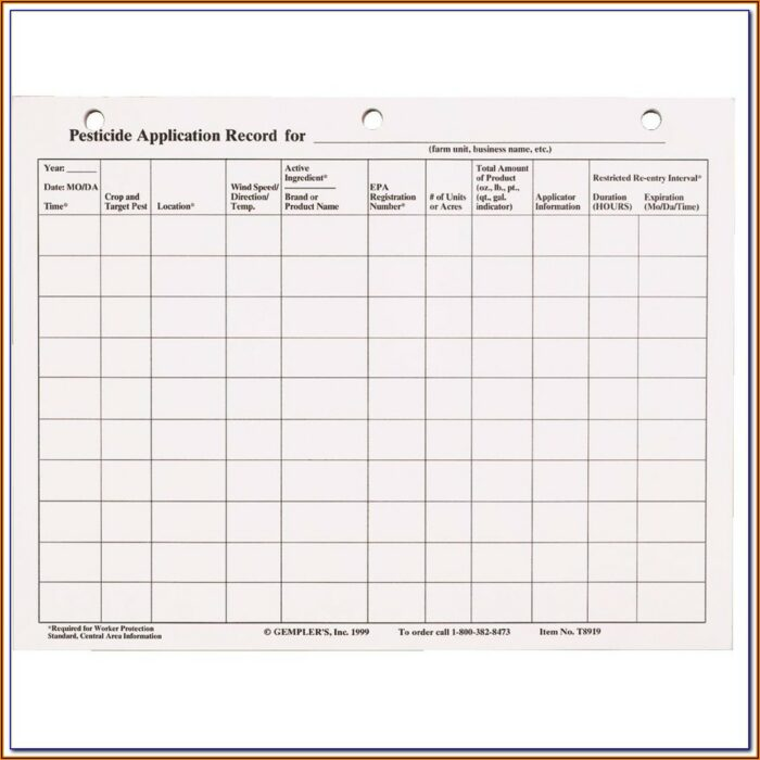 Virginia Pesticide Record Keeping Form