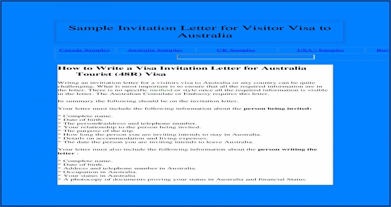 Visa Invitation Letter Australia