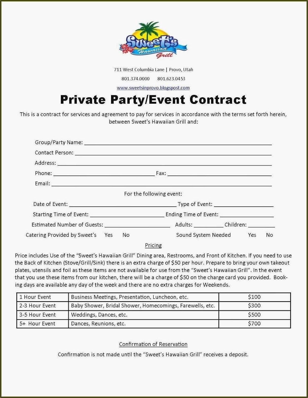 Wedding Coordinator Contract Sample