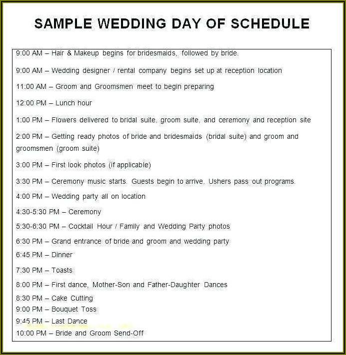 Wedding Day Agenda Template