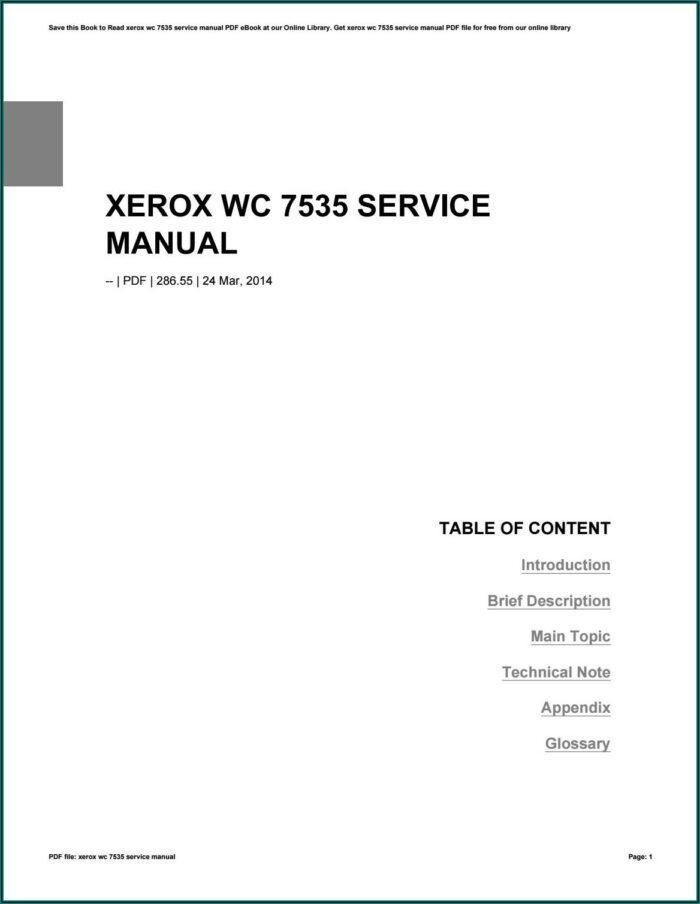 Xerox Wc 7535 Service Manual