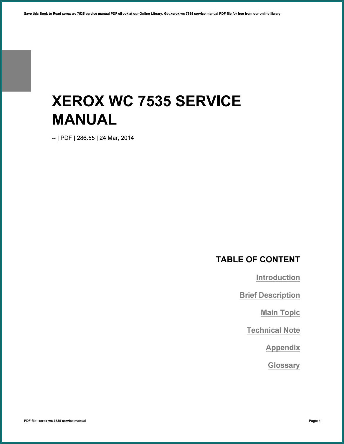 Xerox Wc 7535 Service Manual