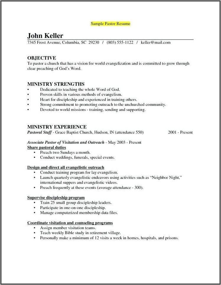Youth Ministry Resume Examples