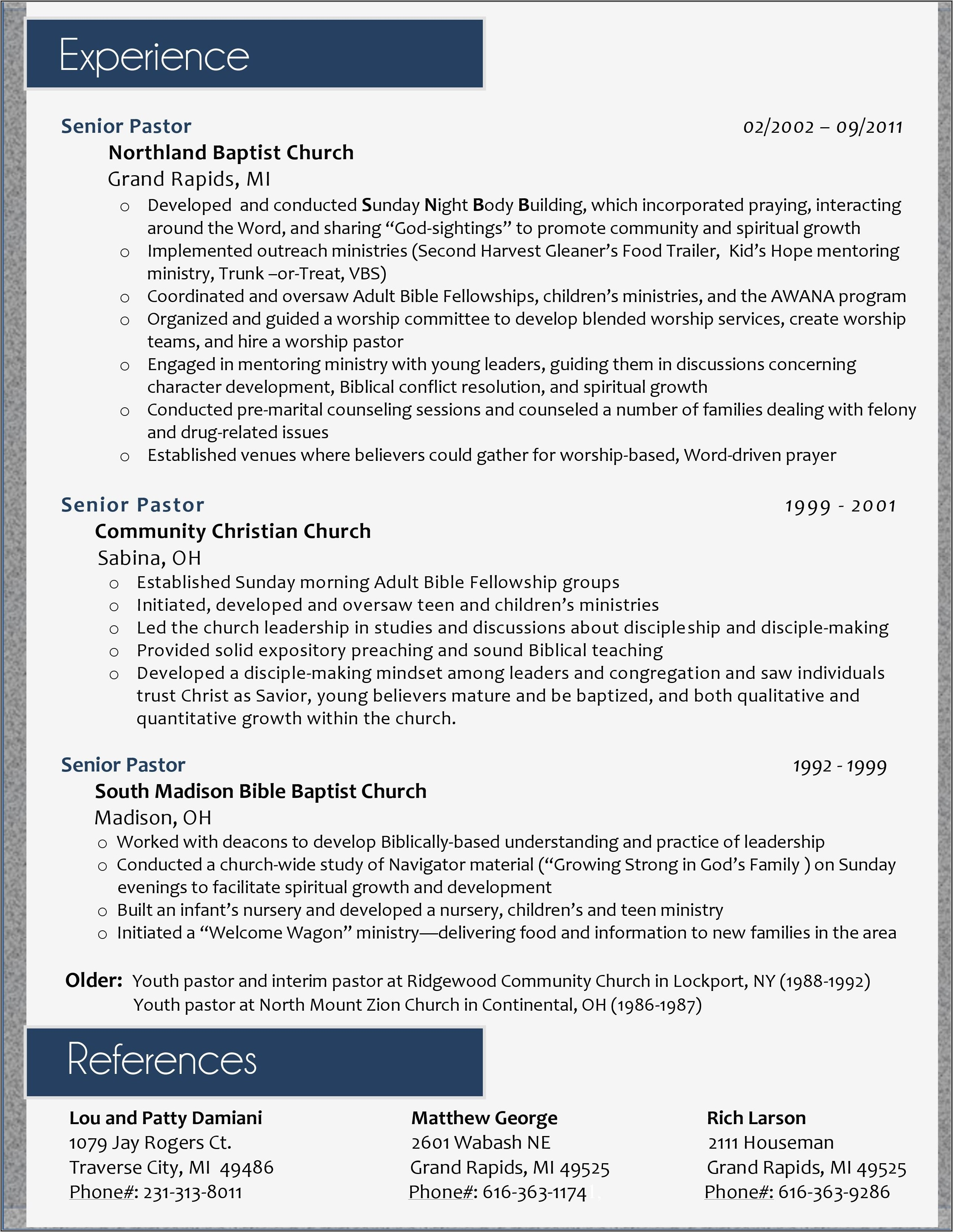 Youth Pastor Resume Examples