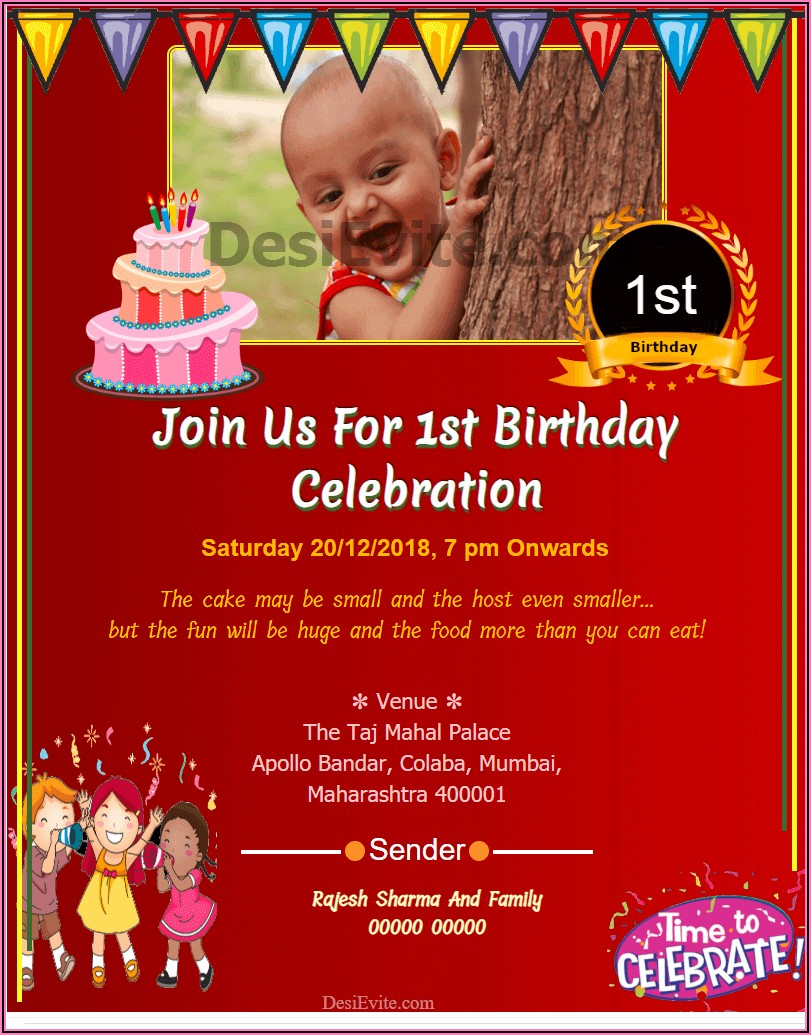1st Birthday Invitation Card For Baby Boy Psd Free Download