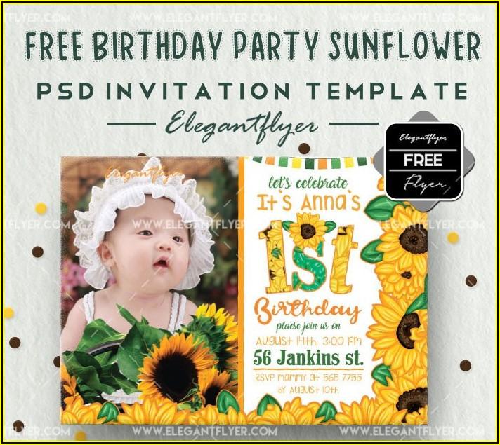 1st Birthday Invitation Template Psd Free Download