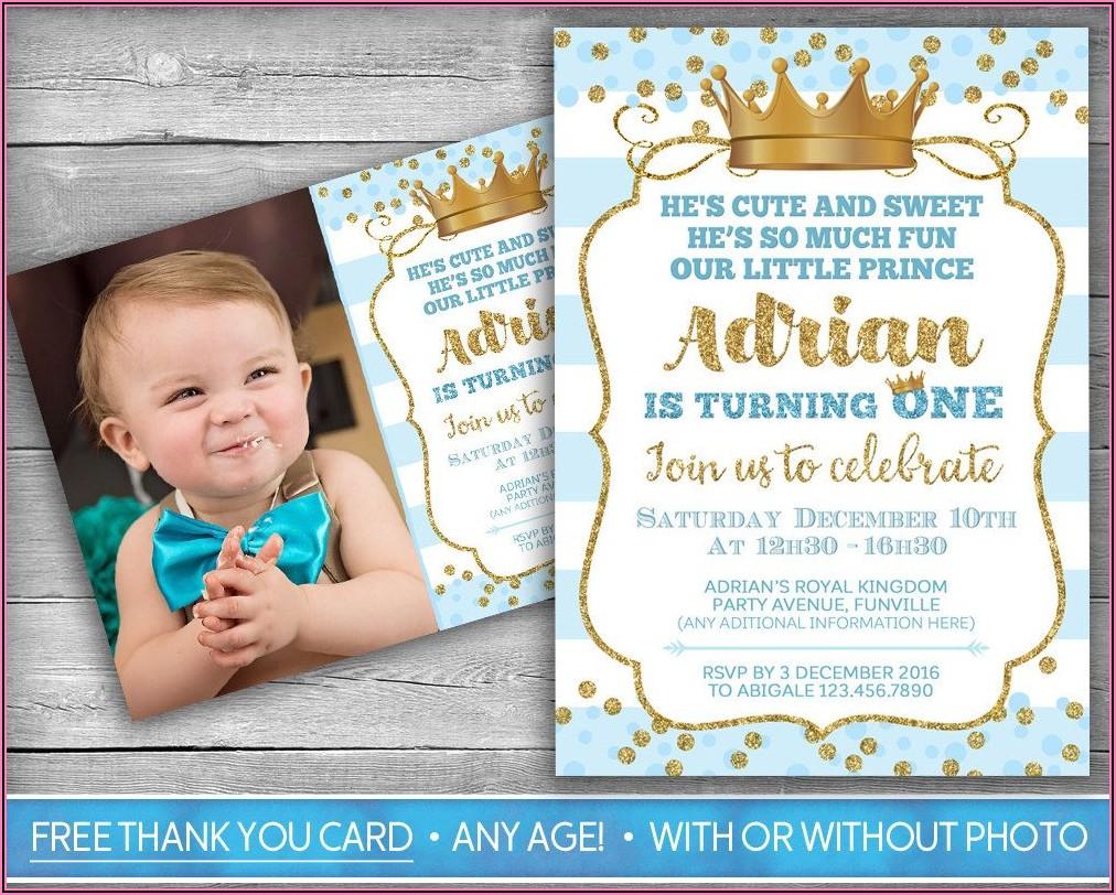1st Birthday Party Invitation For Baby Boy