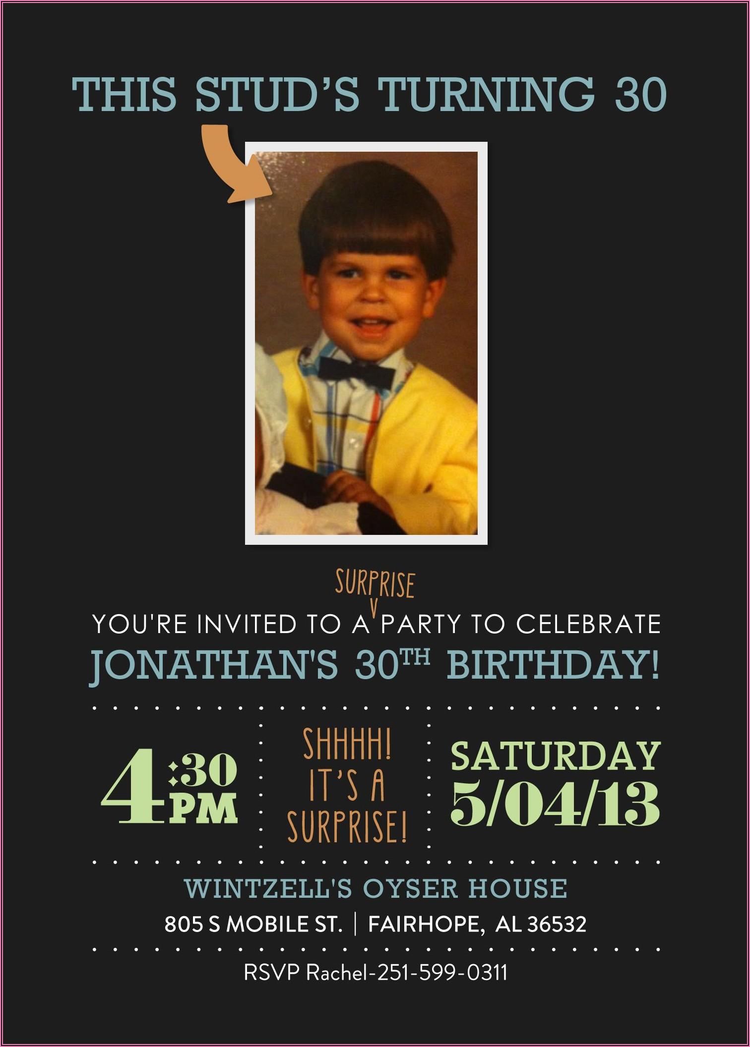 30th Birthday Invitations Guy