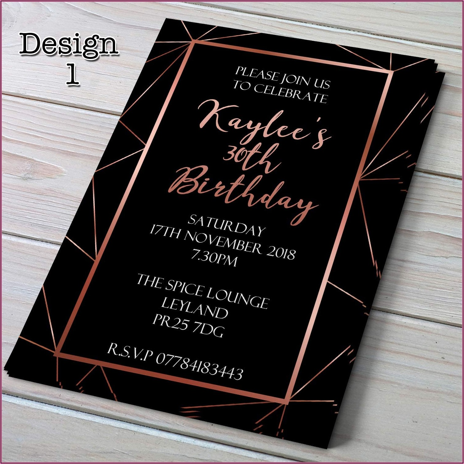 30th Birthday Invitations Rose Gold