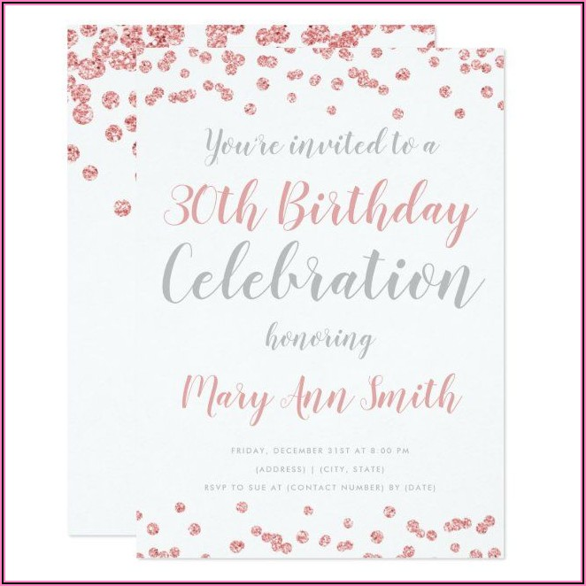 30th Birthday Party Invitations Rose Gold