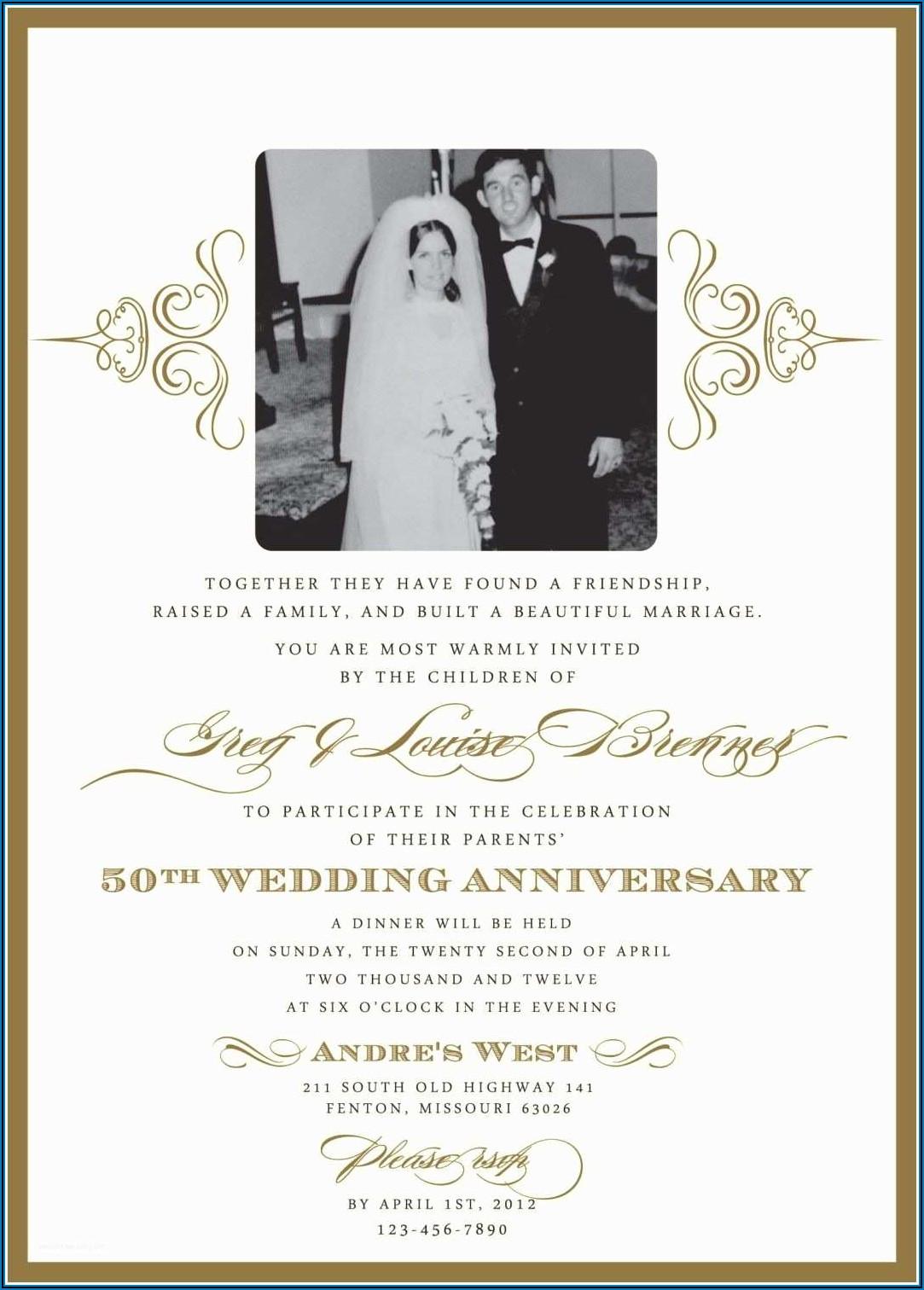 40th Wedding Anniversary Invitation Templates