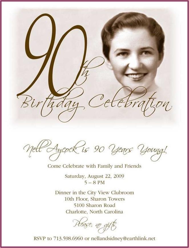 90th Birthday Invites Free