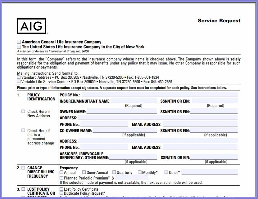 Aarp Life Insurance Surrender Form
