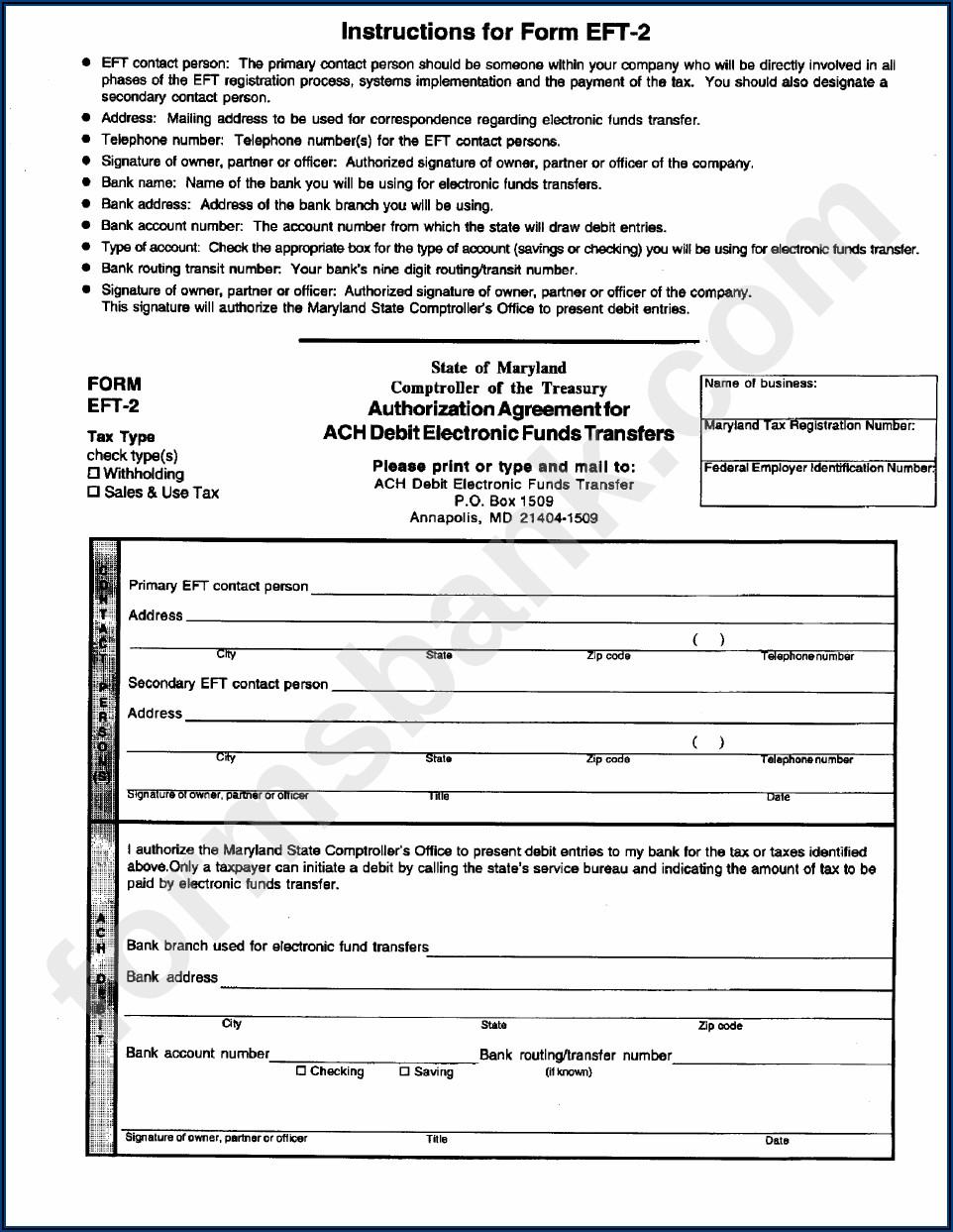 Ach Debit Authorization Form
