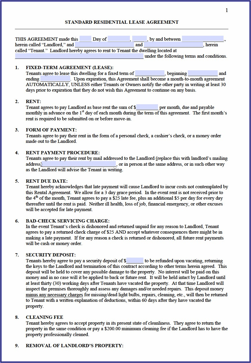 Apartment Rental Lease Agreement Nh
