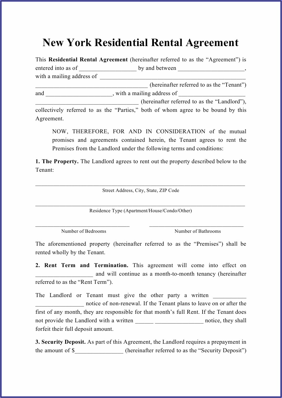 Apartment Rental Lease Agreement Ny