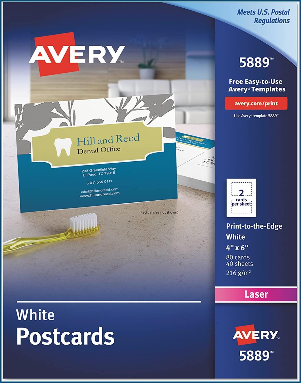 Avery Vertical Postcard Template