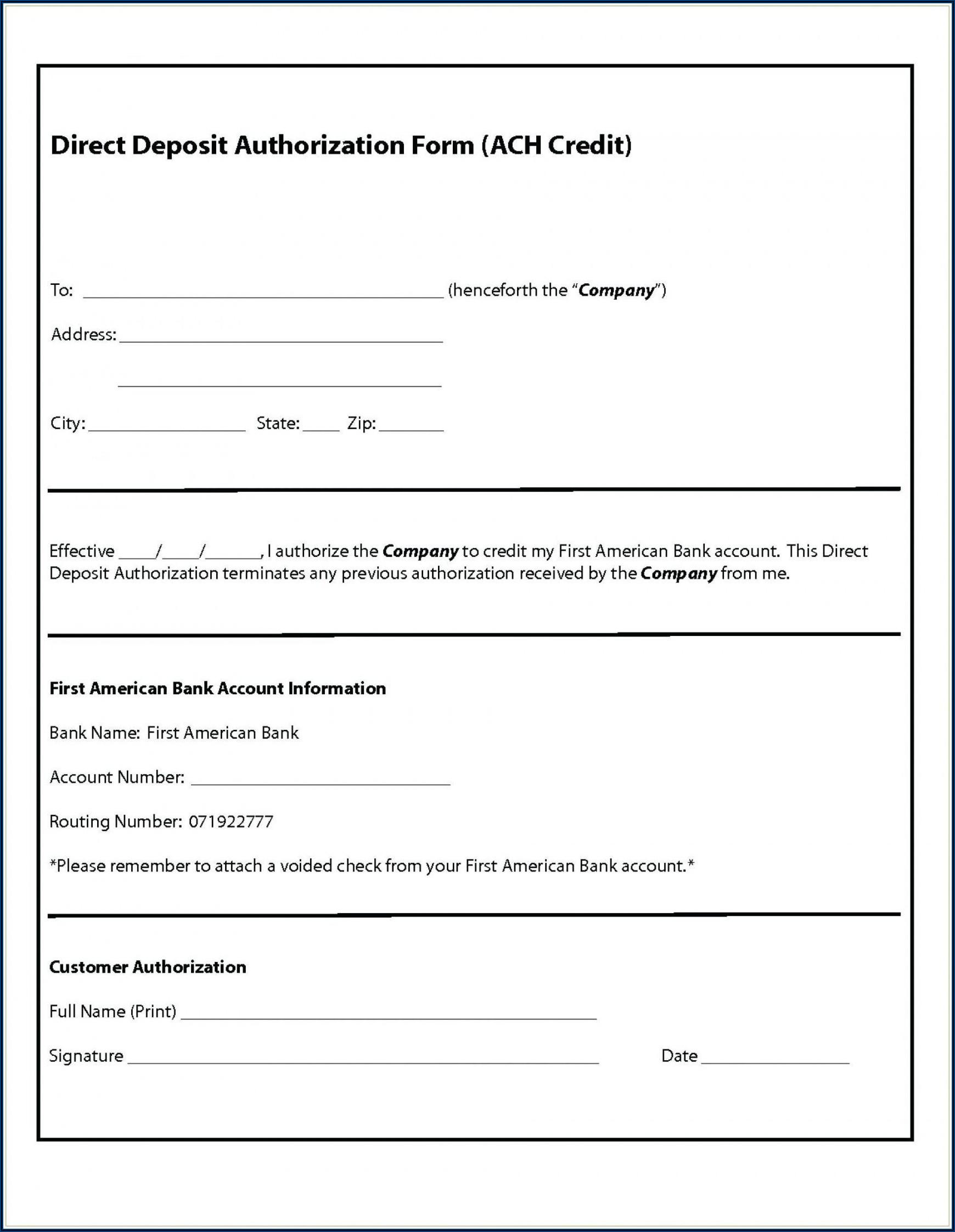 Bank Of America Ach Debit Authorization Form