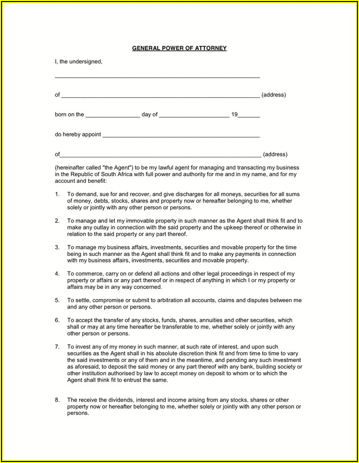 Bank Power Of Attorney Form South Africa