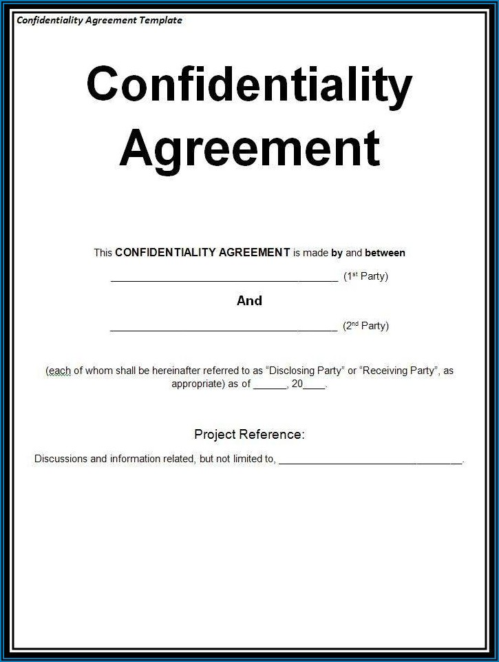 Basic Confidentiality Agreement Template Word