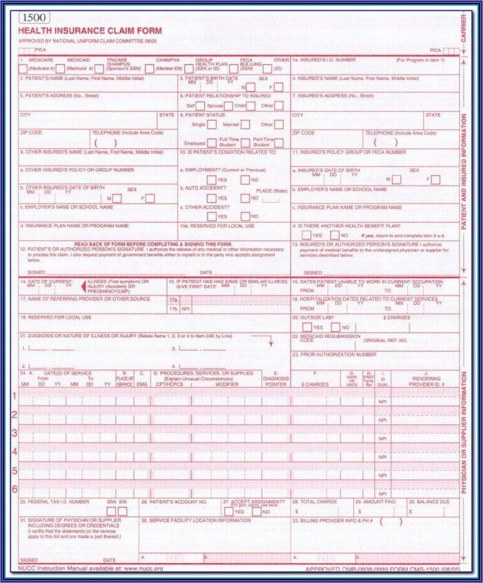 Blank 1500 Claim Form