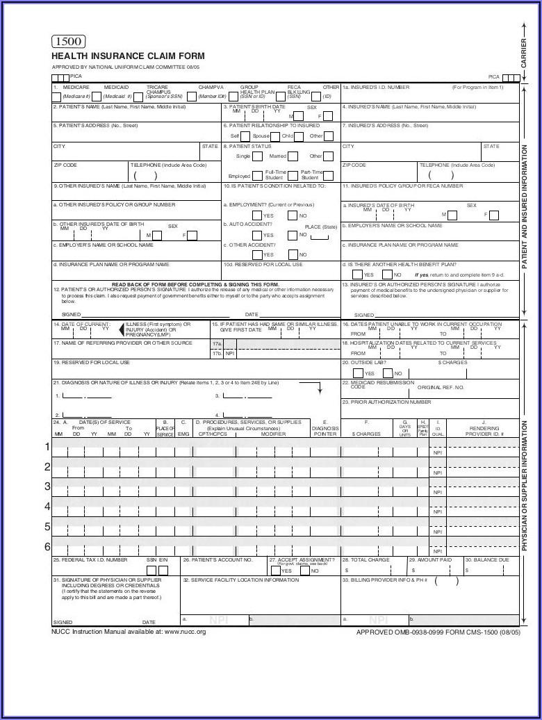 Blank 1500 Claim Form Pdf