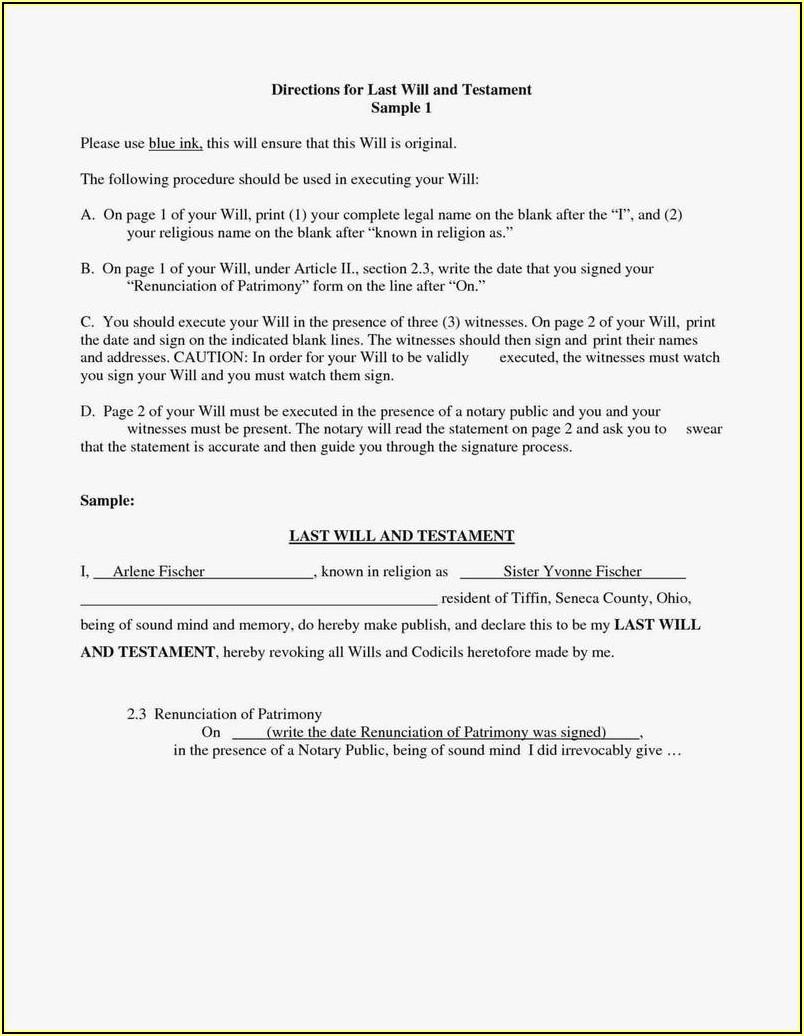 Blank Codicil Form Uk