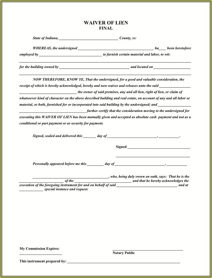 Blank Lien Release Form