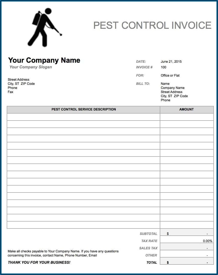 Blank Pest Control Invoice Template