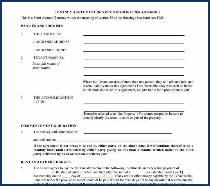 Blank Printable Free Tenancy Agreement Template Word Uk