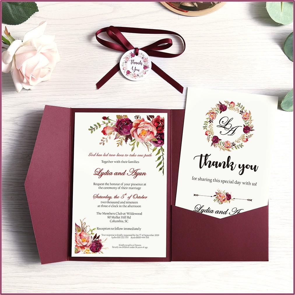 Blue And Burgundy Wedding Invitations