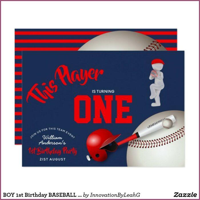 Boy 1st Birthday Baseball Invitations