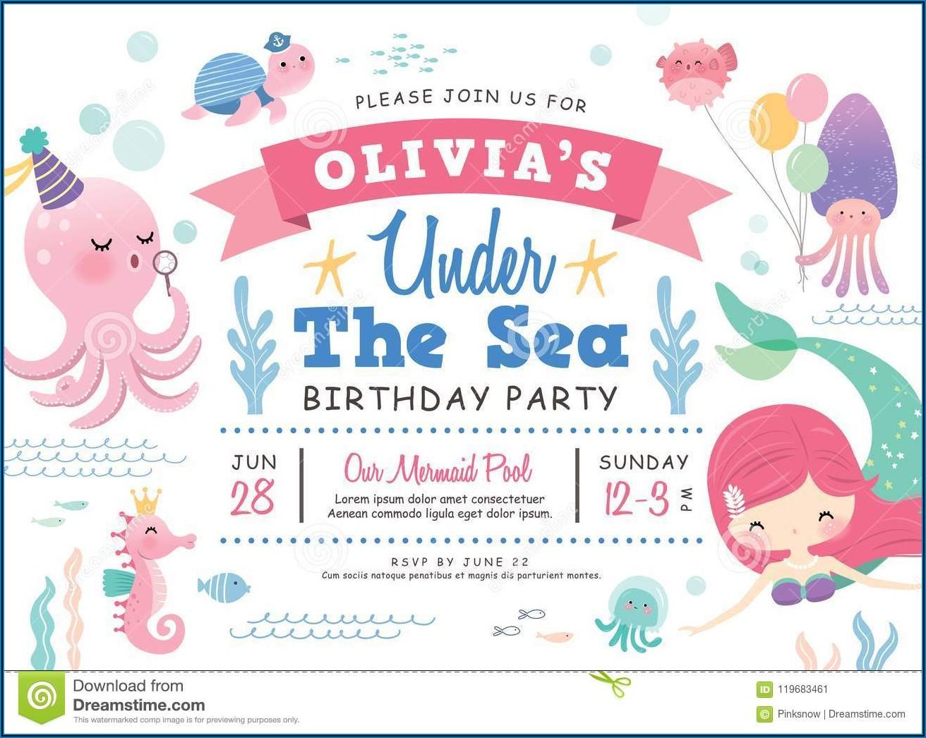 Boy Under The Sea Party Invitation Template