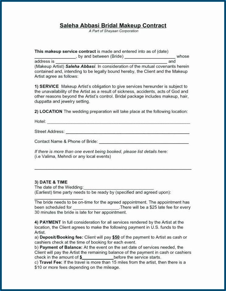 Bridal Hair Contract Template Free