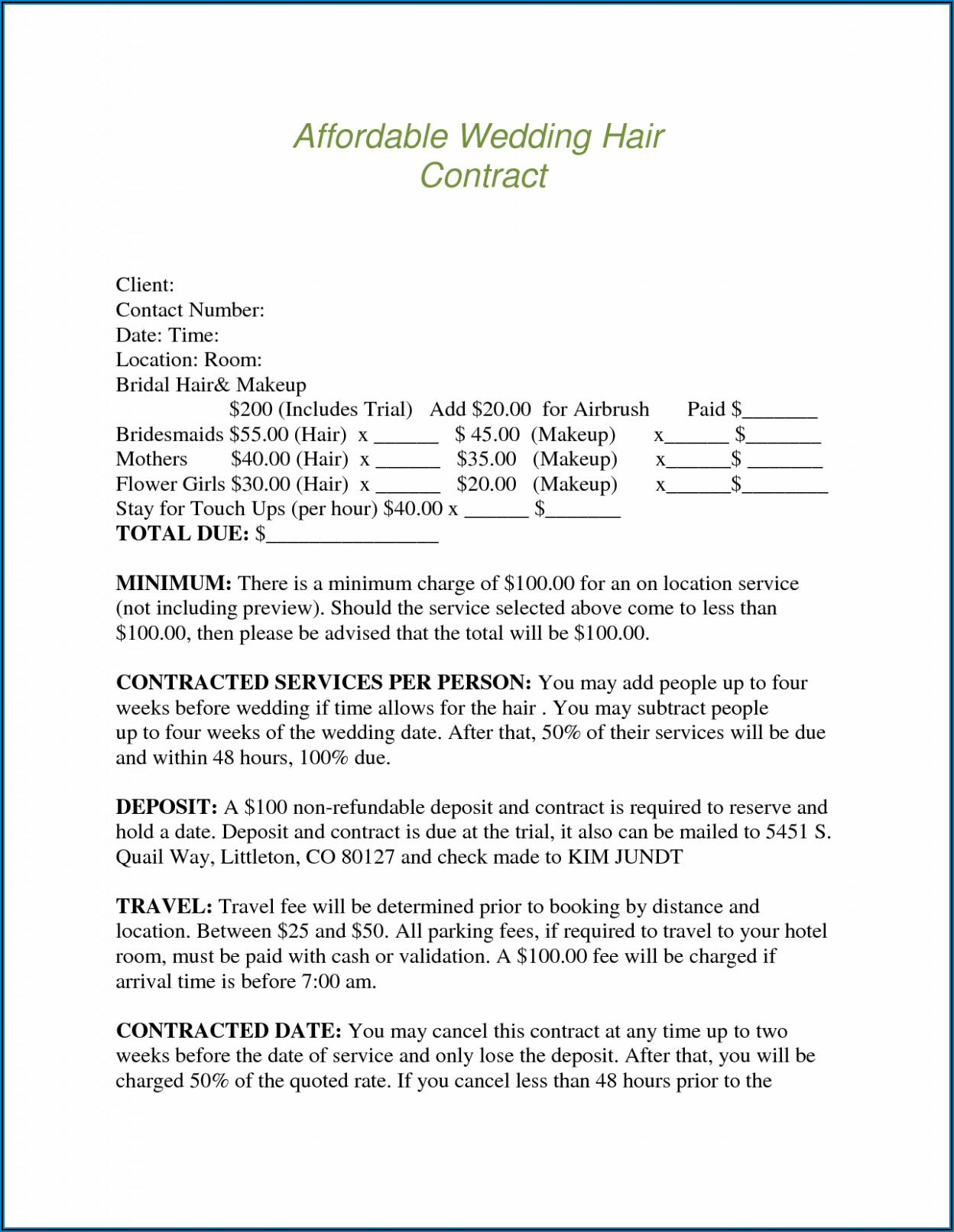 Bridal Hair Contract Template