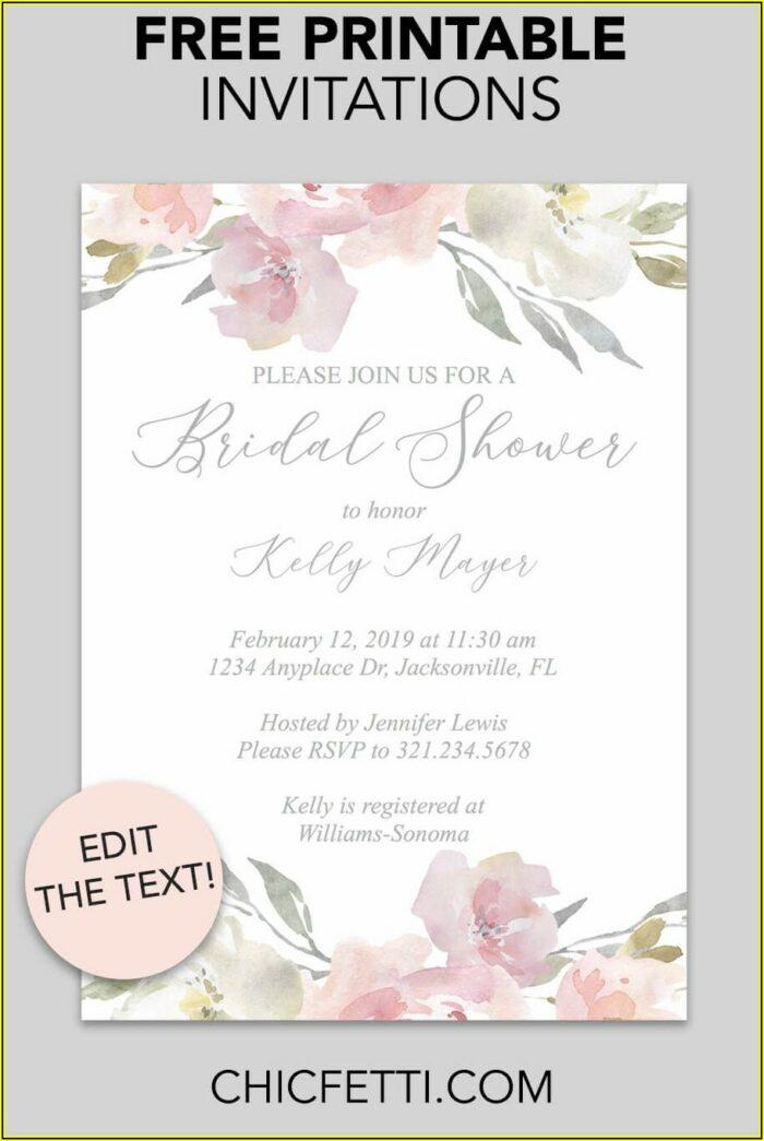 Bridal Shower Invitation Free Templates
